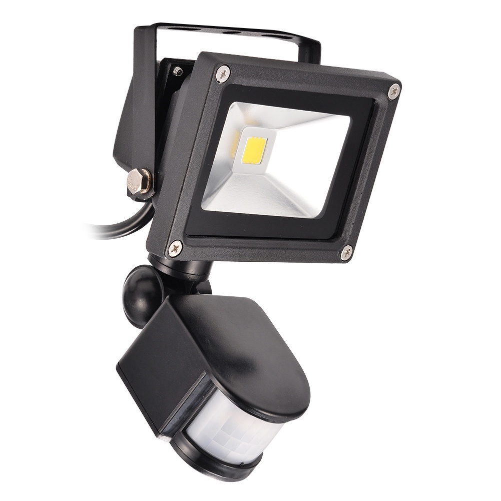 Warm White Motion Sensor LED Flood Light with 3-Plug American Standard ( 2700-3200k ,Waterproof ,AC85-265V 20W ,Black )
