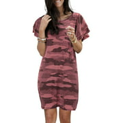 Hawaiian Holiday Boho Baggy Casual Dress For Women Summer Short Sleeve Evening Party Loose Shirt Dress Sundress Loose Casual Kaftan Long Shirt Dress