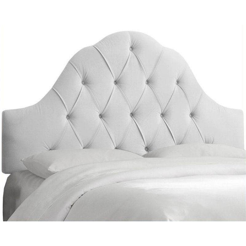 Pemberly Row Upholstered Queen Tufted Panel Headboard in White