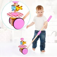 Creative Wooden Baby Walk Single Rod Spiral Trolley Learning Education Toy Cart