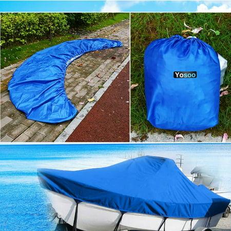 Knifun 14-16FT Tri-Hull Trailerable Fish Ski Boat Cover+Storage Bag+Rope Waterproof US
