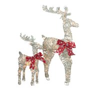 """Set of 2 LED Lighted White and Brown Reindeer Christmas Yard Art Decorations 40"""""""