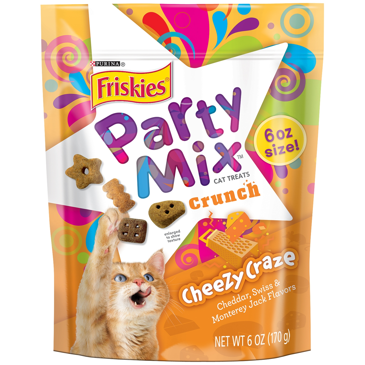 Purina Friskies Party Mix Crunch Cheezy Craze Cat Treats, 6 oz