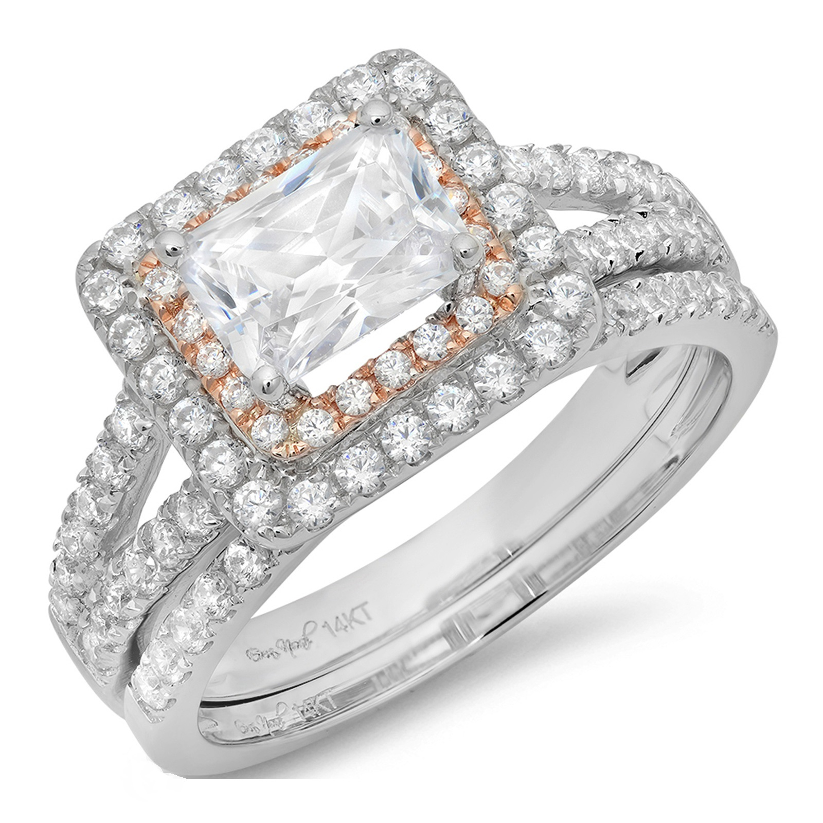 1.80 CT Emerald Cut Sim Diamond Pave Halo Bridal Engagement Wedding Ring band set 14k White Rose Gold, Size 10.75