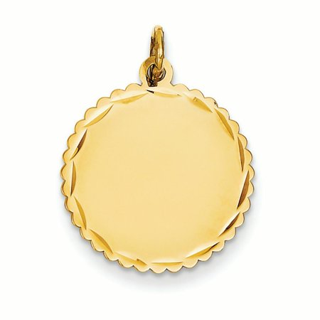 - 14K Yellow Gold .013 Gauge Engravable Scalloped Disc Charm Pendant MSRP $268