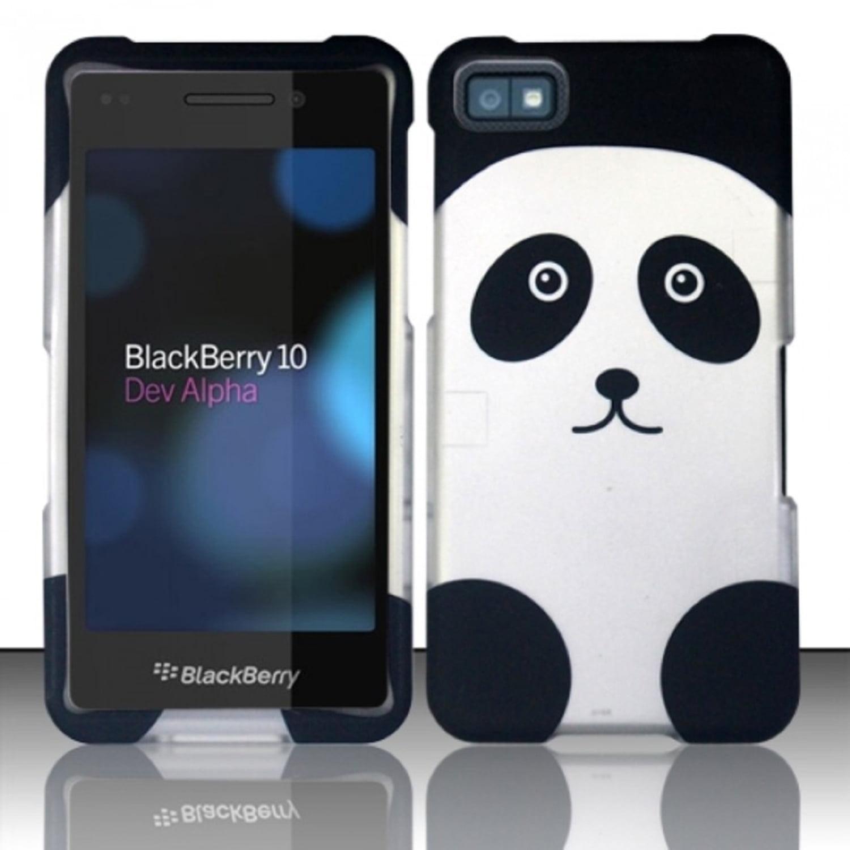 Insten Panda Hard Rubber Coated Case For BlackBerry Z10 - Black/White