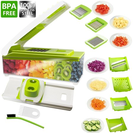 Vegetable Slicer, ANKO 100% Stainless-Steel Blades BPA FREE Slicer, 10 in 1 Multi-Functional Adjustable Vegetable and Fruit Slicer Chopper Cheese Grater Multi Blades with Cleaning Brush