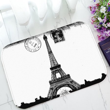 GCKG Paris Eiffel Tower City of Love Non-Slip Doormat Indoor/Outdoor/Bathroom Doormat 23.6 x 15.7 Inches - Party City Welcome Home