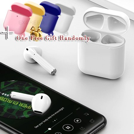 i12 TWS Bluetooth 5.0 Headset With Free Gift Wireless Headphone Touch Control Bluetooth 5.0 Earbuds, Automatic Pairing,Compatible to All Smartphones, Noise Cancelling Earbuds-White