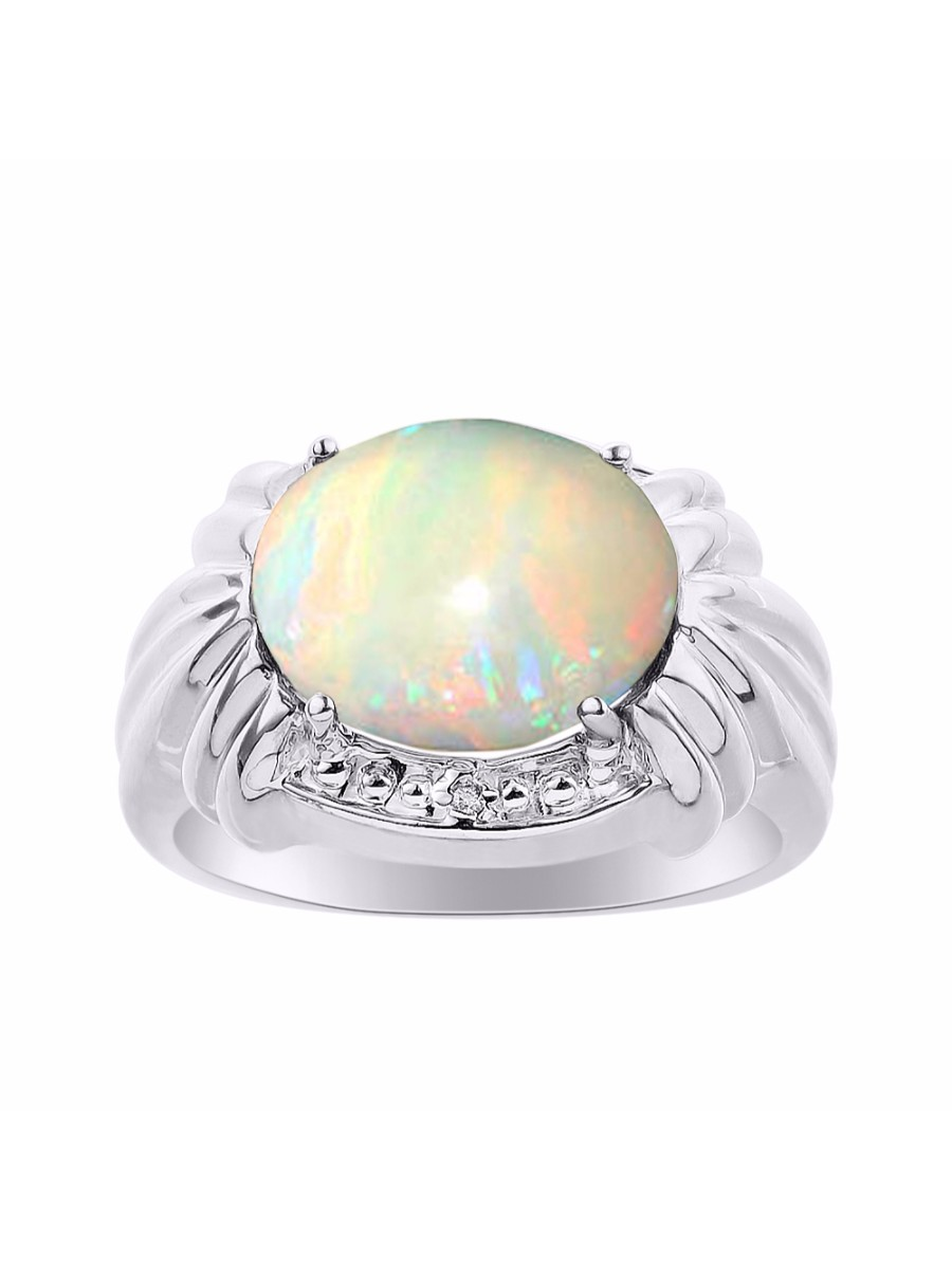 Diamond & Opal Ring Set In 14K White Gold 12 X 10MM Color Stone Birthstone Ring LR7326OPW-D by Rylos