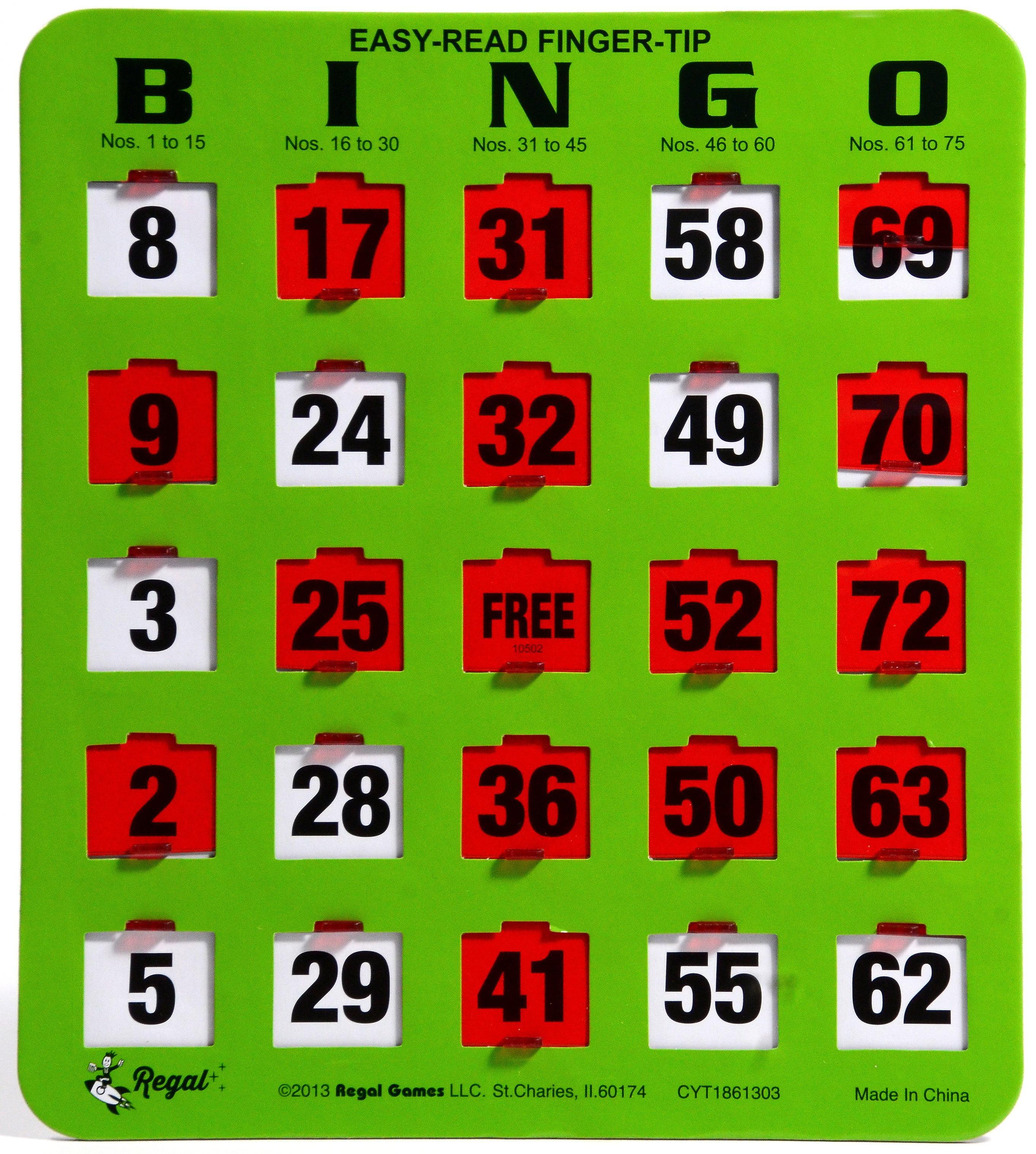 Regal Games 10 Jumbo Easy Read Green Fingertip Shutter Slide Bingo Cards