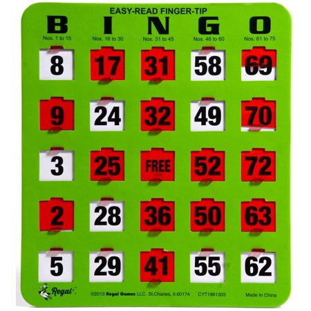 Regal Games 10 Jumbo Easy Read Green Fingertip Shutter Slide Bingo Cards - Fitness Bingo