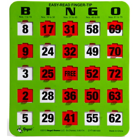 Regal Games 10 Jumbo Easy Read Green Fingertip Shutter Slide Bingo Cards