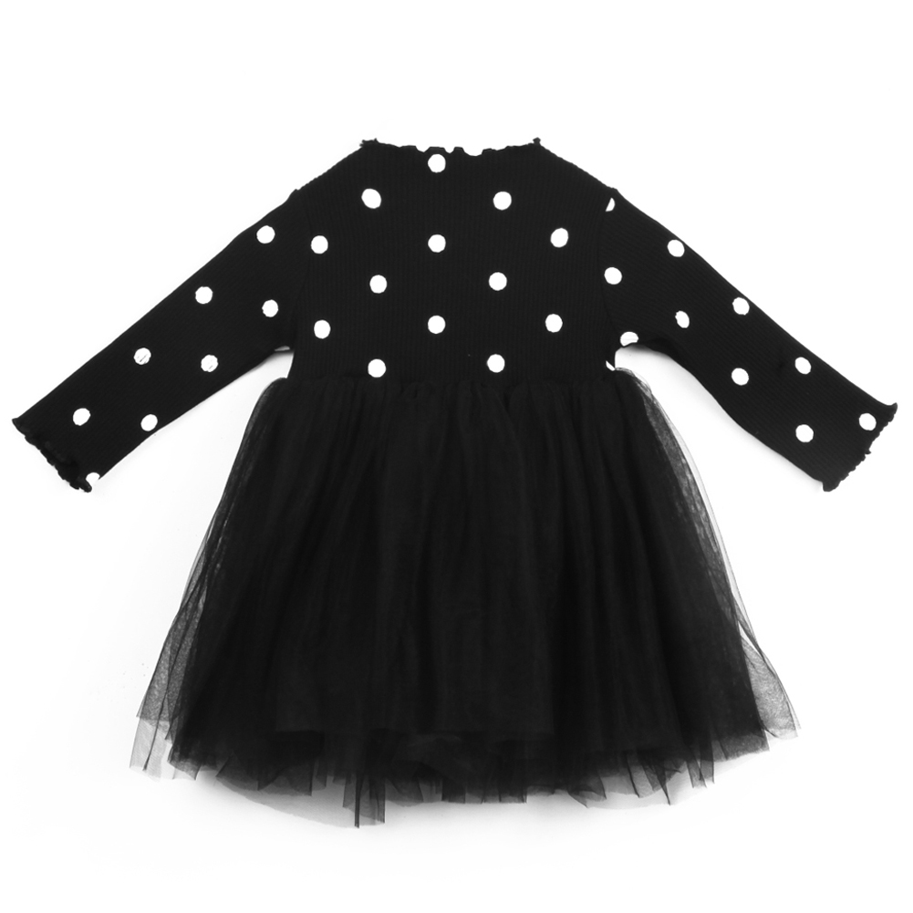 Baby Kid Girls Long Sleeve Polka Dot Bow-knot Tulle Ball Party Dress Outfits 3-4 Year