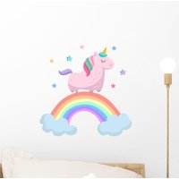 Cute Pink Unicorn Rainbow Wall Decal Wallmonkeys Peel and Stick Decals for Girls (12 in H x 12 in W) WM502728