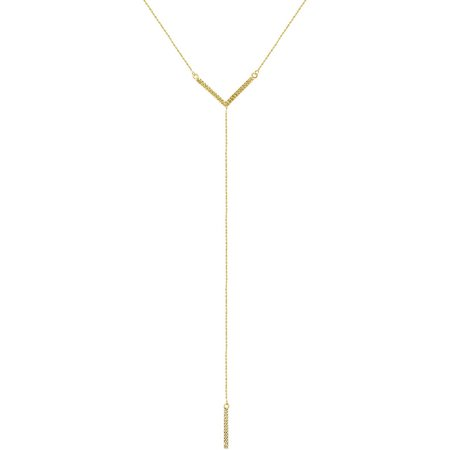 Jewelry 14kt Yellow Gold Diamond-Cut Geometric-Shape Bar and V Dangle Y Necklace, Adjustable 16-18 Chain 14k Gold Dangle Necklace