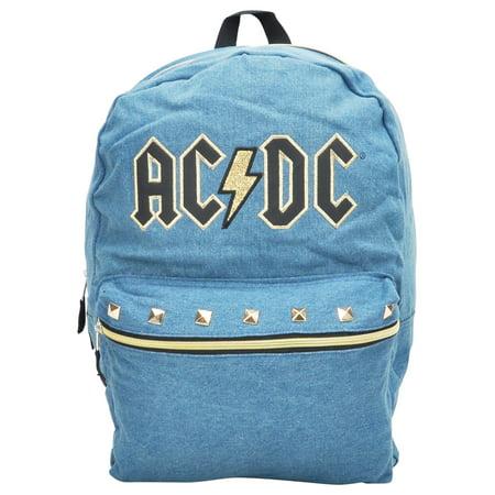 """Rock N' Roll  AC/DC Backpack 16"""" Denim"""