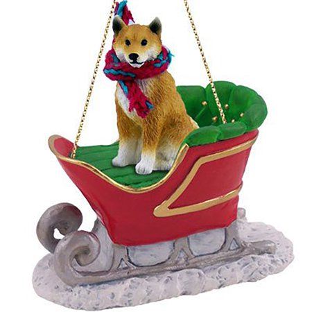 Conversation Concepts Shiba Inu Dog Sleigh Dog Holiday