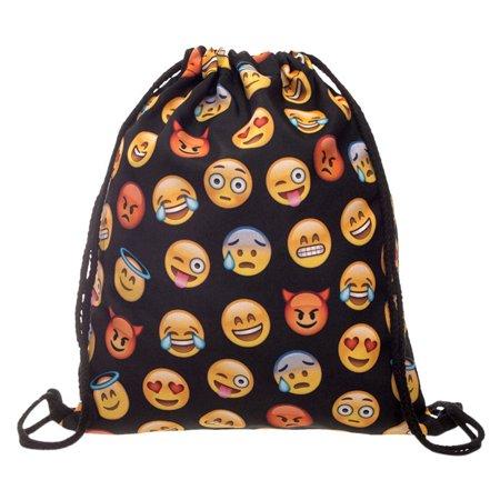 Cute Cartoon Facial Expression Emoji Patterned Daypack Gym Shopping Drawstring Backpack String Shoulder Bag for Adult