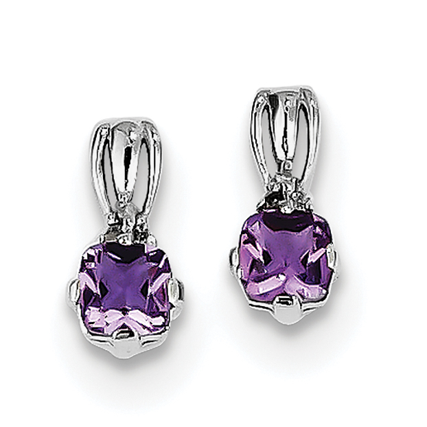 Sterling Silver Rhodium Plated Dia. Amethyst Round Post Earrings QE9963AM - image 2 de 2