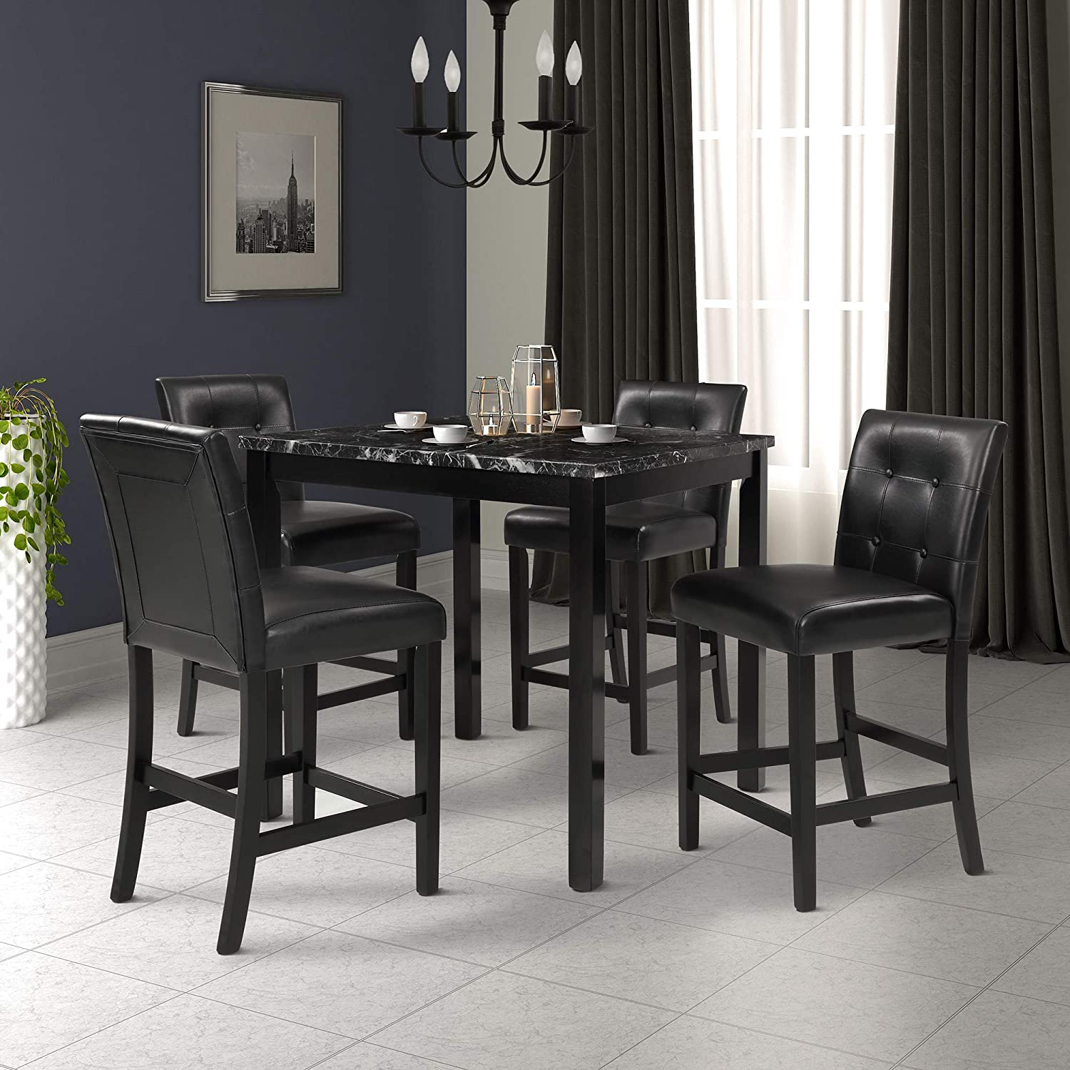 counter height dining set for 4 faux marble top dining