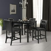 Counter Height Dining Set for 4, Faux Marble Top Dining Table Sets with 4 PU Leather Chairs, 5 Piece Wooden Dining Room Table Set, Kitchen Dining Set for Breakfast Nook, Living Room, Black, W13318