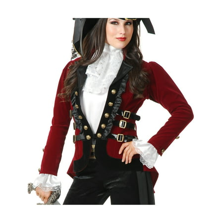 Womens Sultry Pirate Lady Wine And Black Velvet Captain Costume Jacket - Black Pirate Coat