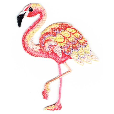 Flamingo - Tropical Bird - Facing Left - Ocean - Iron on Applique - Embroidered Patch (T Birds Patch Grease)