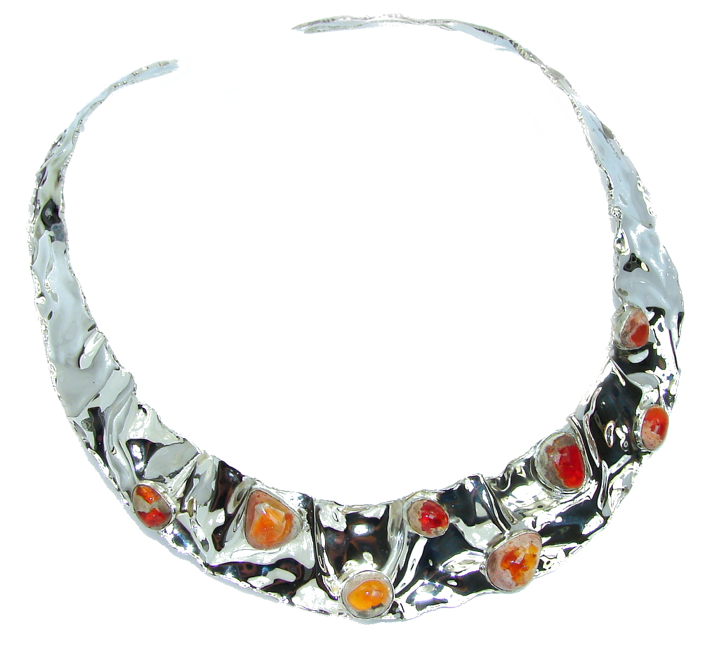 Gallery Piece Natural Mexican Fire Opals Hammered Sterling Silver necklace Chocker by SilverRush Style by