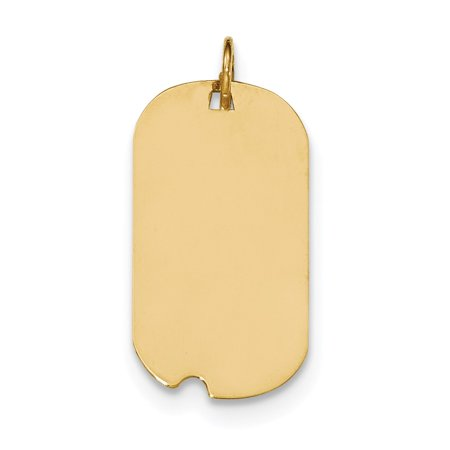 Solid 14k Yellow Gold Plain .011 Gauge Engraveable Dog Tag with Notch Disc Pendant Charm (15mm x 26mm)