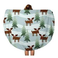 LADDKA 60 inch Round Beach Towel Blanket Red Cute Christmas Moose Season Cartoon Celebration Child Travel Circle Circular Towels Mat Tapestry Beach Throw