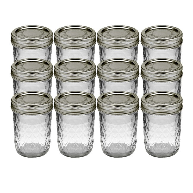 Kerr Quilted Crystal Mason Jar w/ Lid & Band, Regular Mouth, 8 Ounces, 12 Count