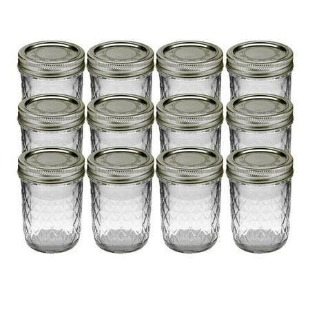 Kerr Quilted Crystal Mason Jar w/ Lid & Band, Regular Mouth, 8 Ounces, 12 Count - Mini Mason Jars In Bulk