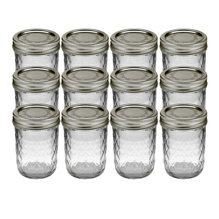 Kerr Quilted Crystal Mason Jar w/ Lid & Band, Regular Mouth, 8 Ounces, 12 Count (Mini Glass Jars With Lids)