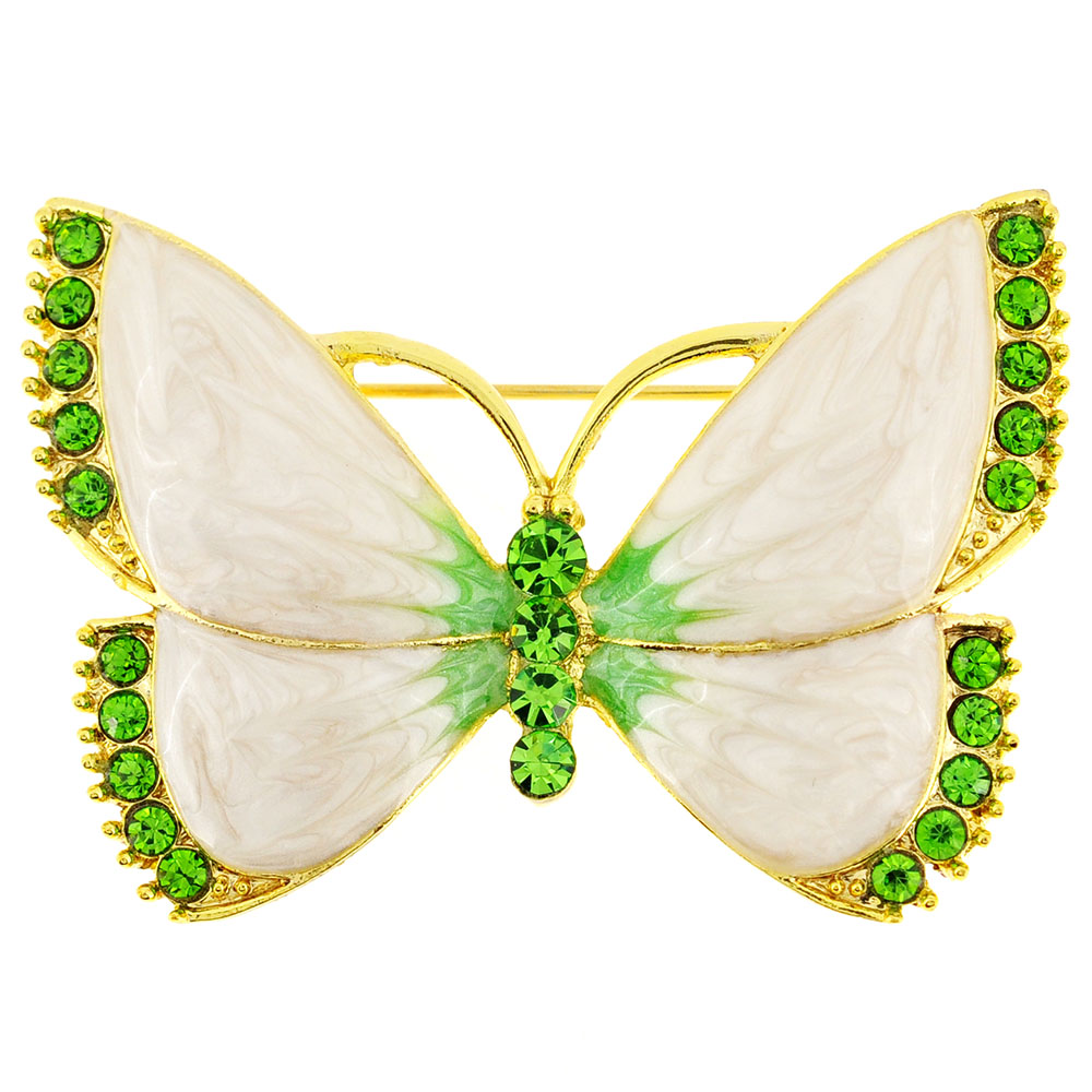 White Green Butterfly Crystal Pin Brooch by
