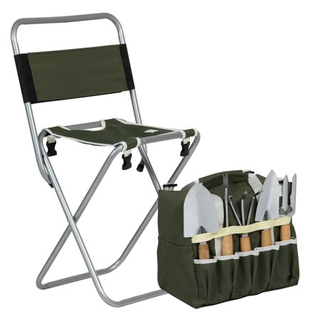 Peachy Best Choice Products 10 Piece Outdoor Gardening Tool Set W Detachable Tote Bag And Folding Stool Chair Green Uwap Interior Chair Design Uwaporg