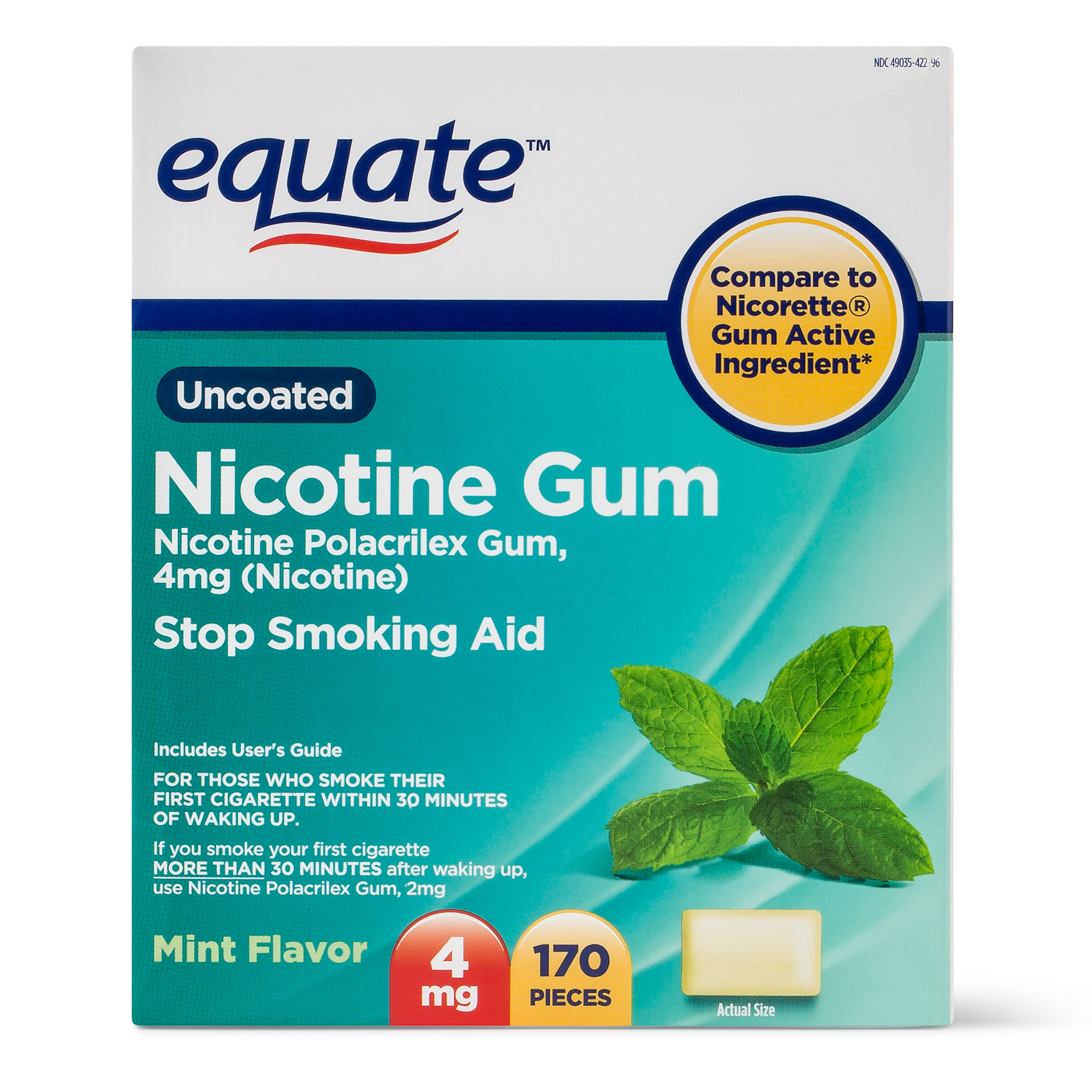 Equate Uncoated Nicotine Gum Stop Smoking Aid Mint Flavor, 4mg, 170 Ct