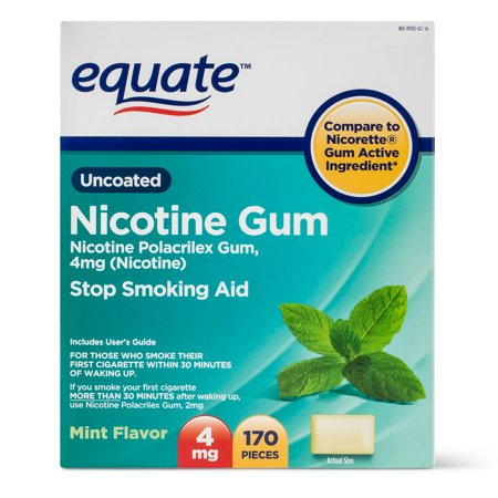 Equate Uncoated Nicotine Gum Stop Smoking Aid Mint Flavor, 4mg, 170 (Stop Smoking Mint)