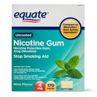 Equate Nicotine Polacrilex Gum, 4 mg, Mint Flavor, 170ct
