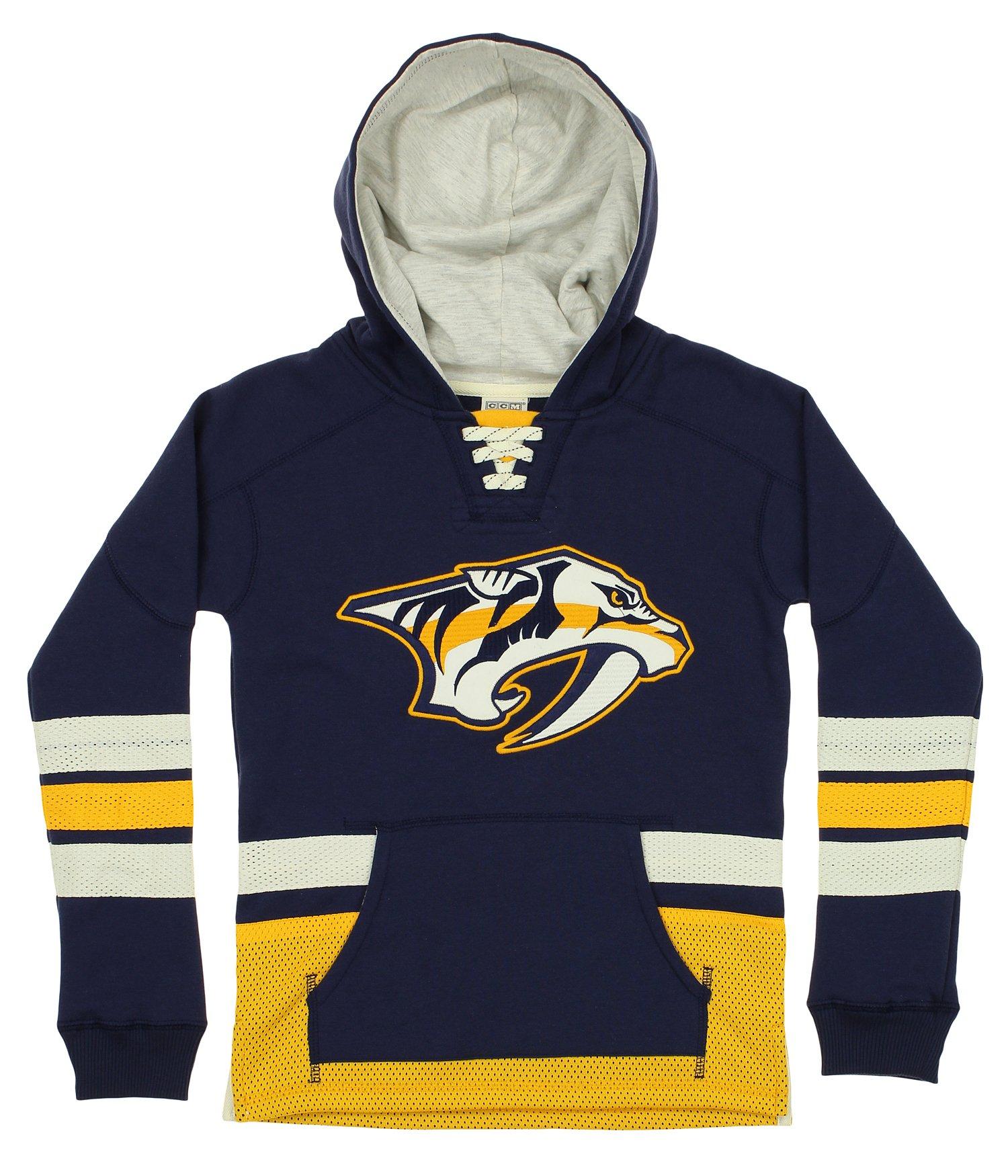 CCM NHL Youth Nashville Predators NHL Retro Skate Pullover Hoodie, Navy by