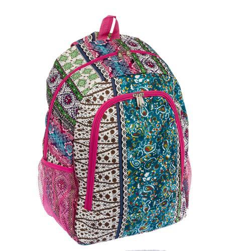 "Womens Girls 16.5"" Boho Print Backpack Book Bag School Class Travel Carry On NEW"