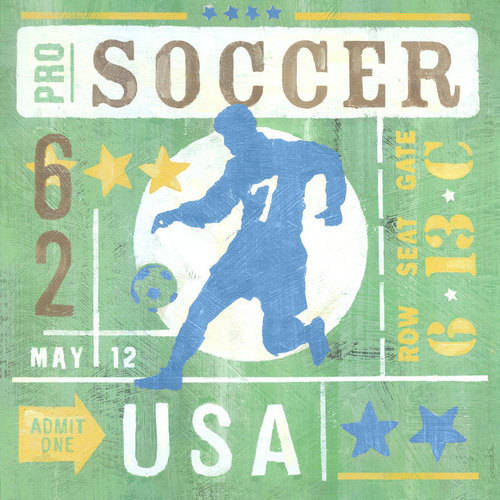 Oopsy Daisy - Game Ticket - Going For the Goal Canvas Wall Art 30x30, Roger Groth