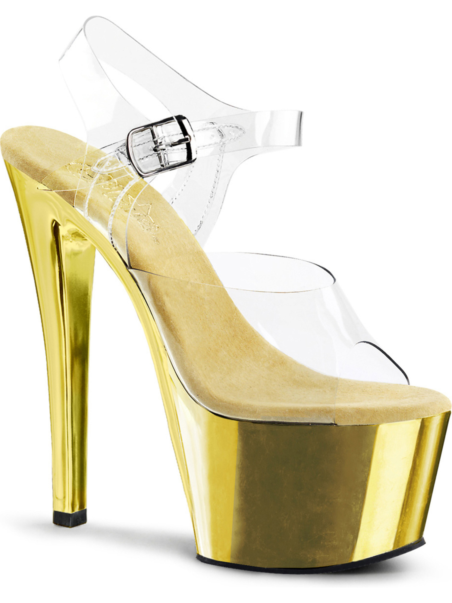 Womens Chrome Dazzling Gold Sandals Shoes with 7 Inch Chrome Womens Heels and Clear Straps 01fbe7