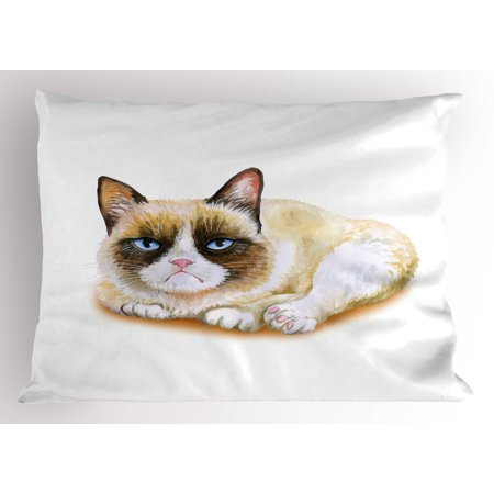Animal Pillow Sham Grumpy Siamese Cat Angry Paws Asian Kitten Moody Feline Fluffy Love Art Print, Decorative Standard Queen Size Printed Pillowcase, 30 X 20 Inches, Brown and Beige, by -