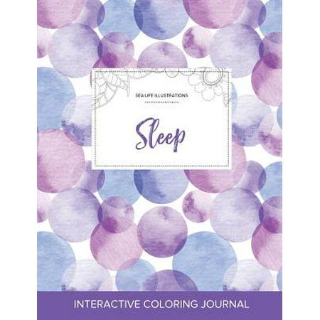 Adult Coloring Journal : Sleep (Sea Life Illustrations, Purple Bubbles)