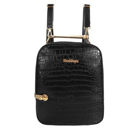Women's Snakeskin Leather Design Detachable Shoulder Straps - Black Snakeskin Backpack