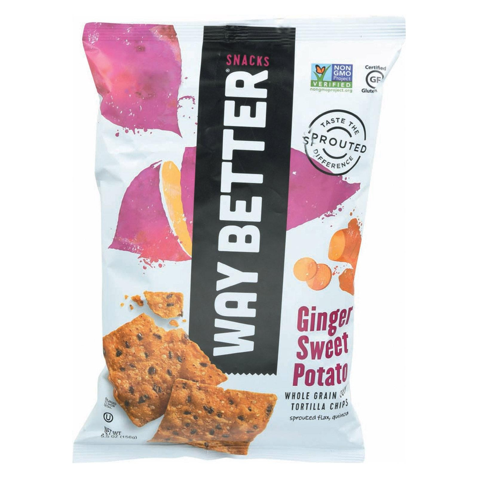 Way Better Snacks Tortilla Chips - Ginger Sweet Potato - pack of 12 - 5.5 Oz.
