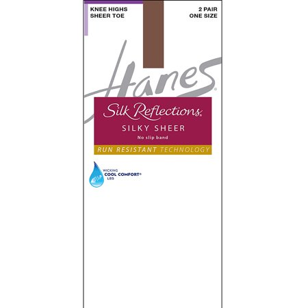 Hanes Silk Reflections Silky Sheer No-Slip Band Knee Highs with Run Resistant Technology 2-Pair Pack -