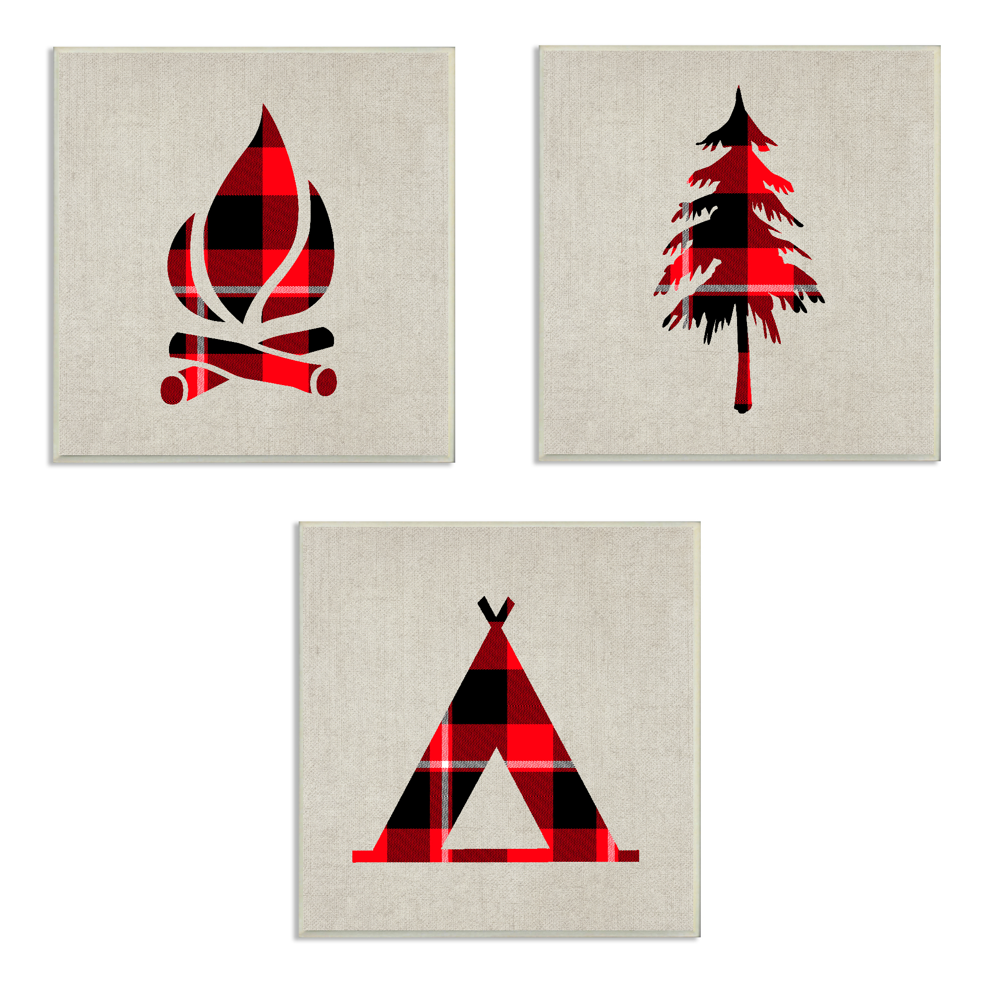 The Kids Room by Stupell Burlap Camping Buffalo Plaid 3pc Wall Plaque Art Set, 12 x 0.5 x 12