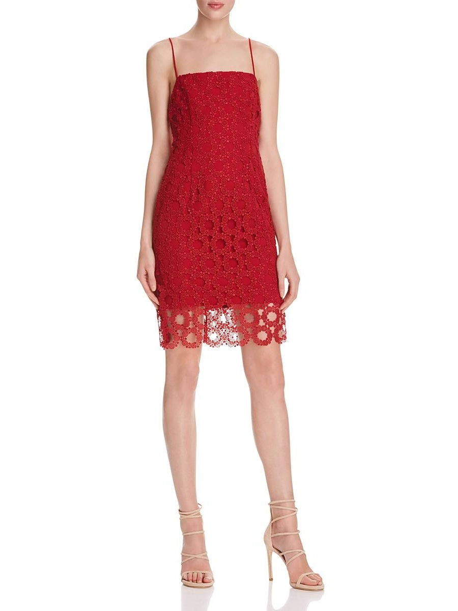 N Nicholas Womens Wreath Lace Sheath Cocktail Dress